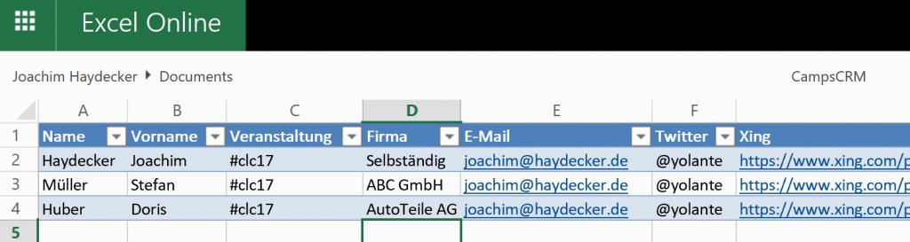 CRM Excel Tabelle für meine Kontakte auf dem WOL Camp
